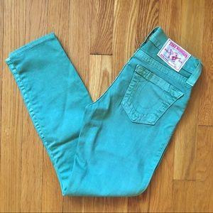 True Religion Green Ankle Crop Skinny Jeans
